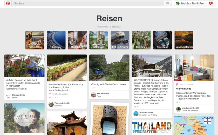 Reiseplanung mit Pinterest: Innerhalb einer Kategorie bietet Pinterest immer verschiedene Themen an. Ähnlich funktioniert die geführte Suche (Guided Search) von Pinterest. (Quelle: www.Berlinfreckles.de)