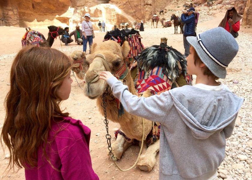 Kamele vor dem Schatzhaus in Petra. Jordanien: Highlights und Impressionen von einer Rundreise mit Schulkind. Mehr dazu auf www.berlinfreckles.de