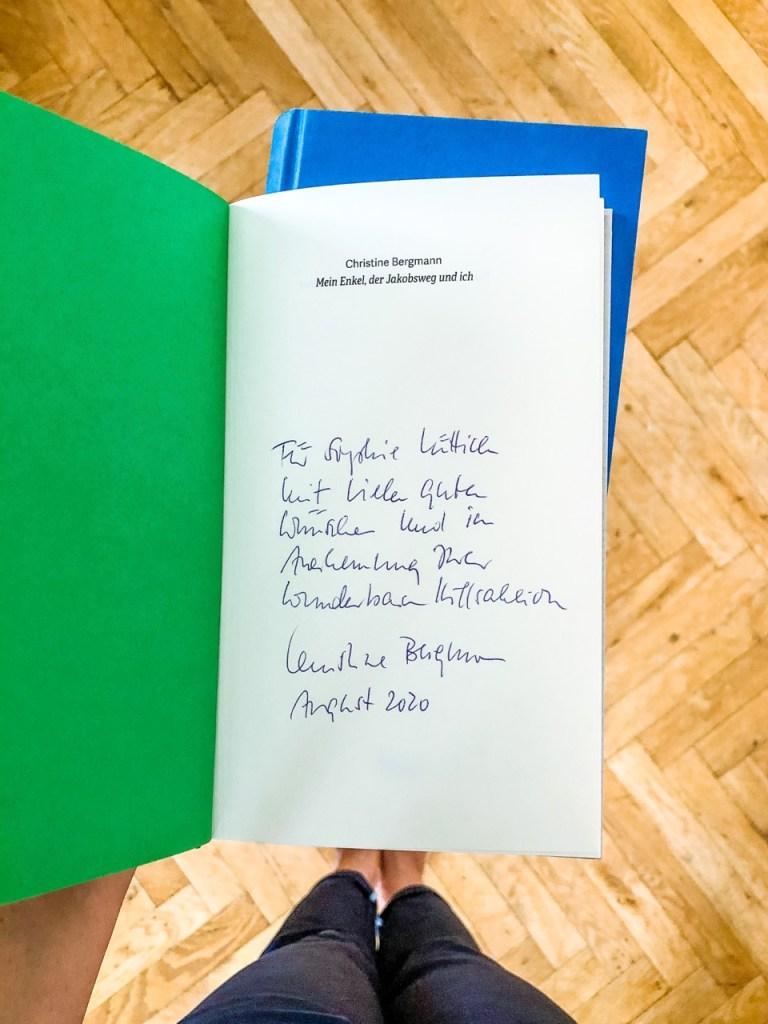 """Widmung im Buch von Christine Bergmann """"Mein Enkel, der Jakobsweg und ich"""""""