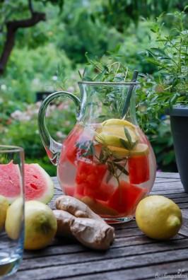 Köstlich aromatisch: Wassermelone mit Zitrone, Ingwer und Zitronentagetes