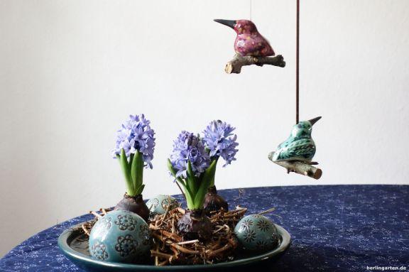 Hyazinthen Keramikvögel