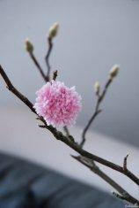 Der fertige Pompon aus rosa Wolle