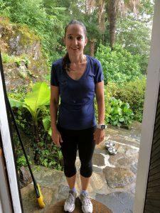 Uta nach dem Joggen im Regenschauer