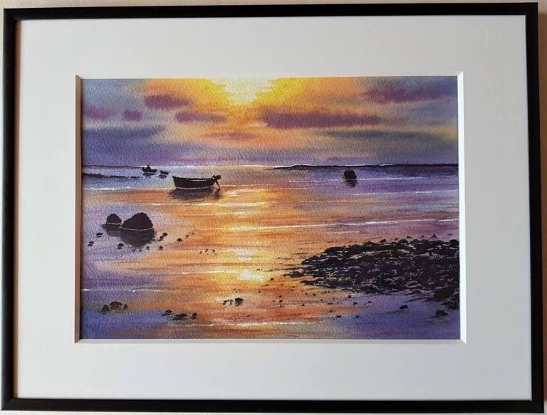 Aquarell englische Küste von Nadias Mann gemalt