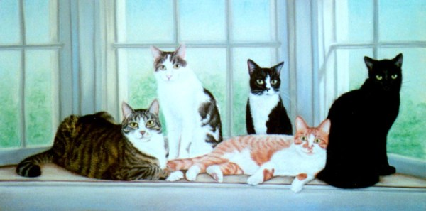 pastel portrait of five cats