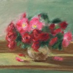 pastel sketch of roses in a vase
