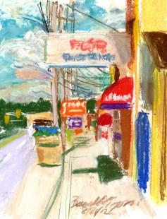 pastel sketch of street scene