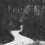 train tracks rounding curves along a hillside