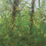 pastel sketch of leafy trees
