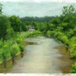 pastel sketch of creek