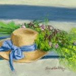 pastel sketch of hat and flowers on swing
