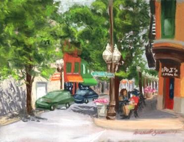 pastel painting of main street in carnegie