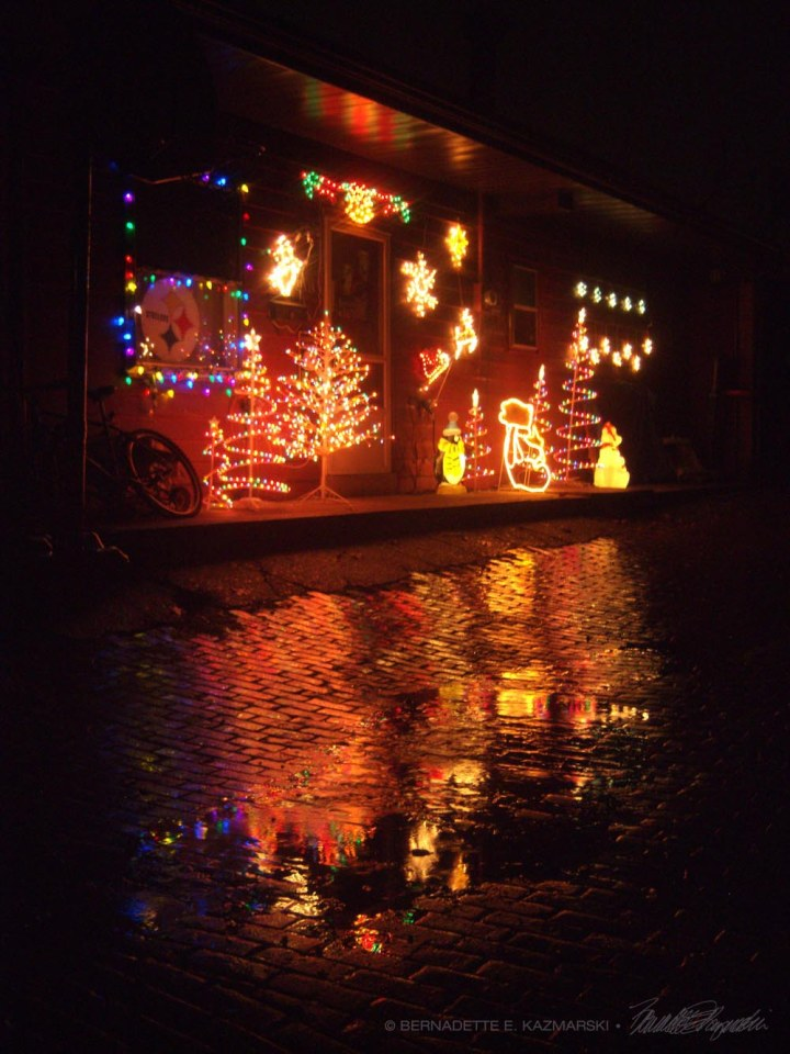 holiday lights in the rain