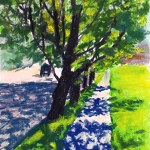 pastel sketch of trees and shadows on sidewalks