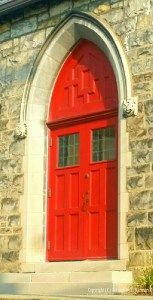 The other red door on Atonement in full sun.