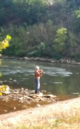 Fly fishing in Chartiers Creek.