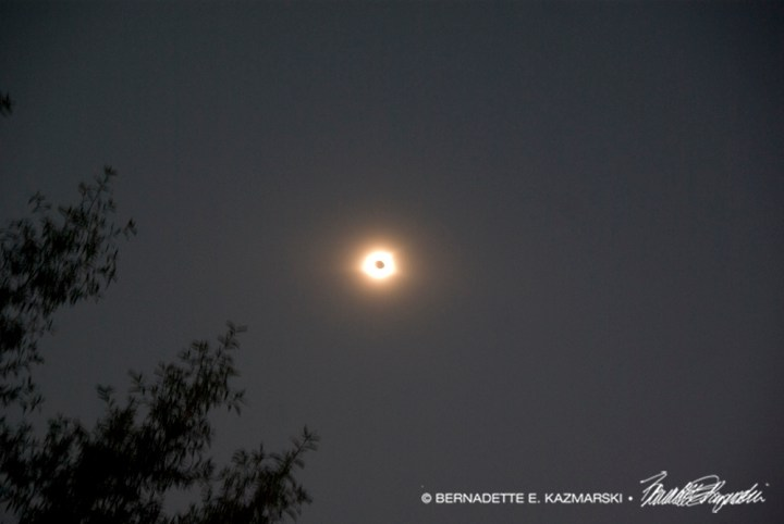 The color of the sky during the totality.