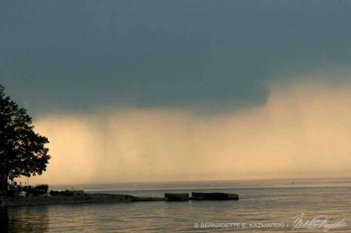 incoming storm over lake