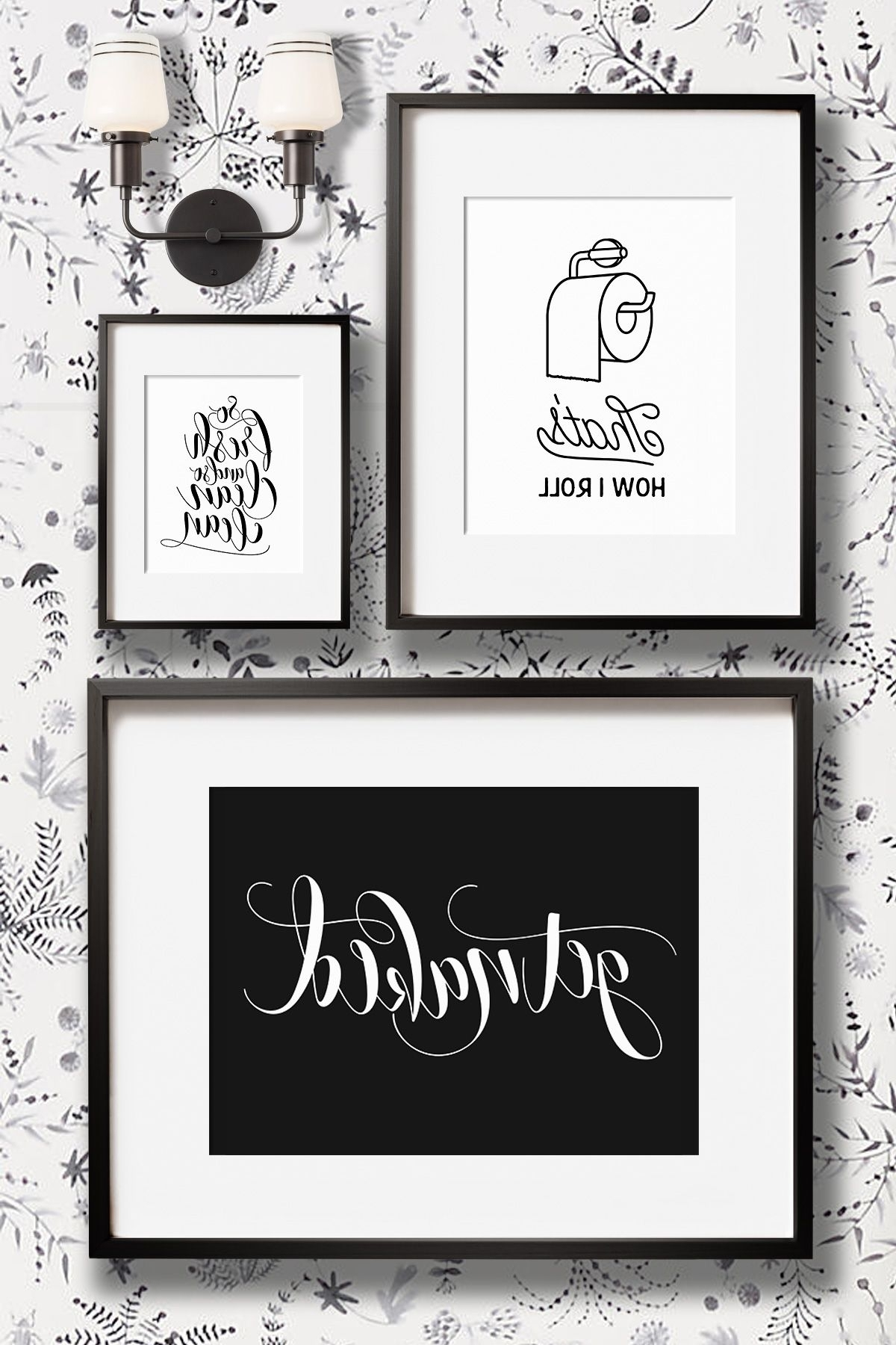 2019 Best Of Black And White Bathroom Wall Art