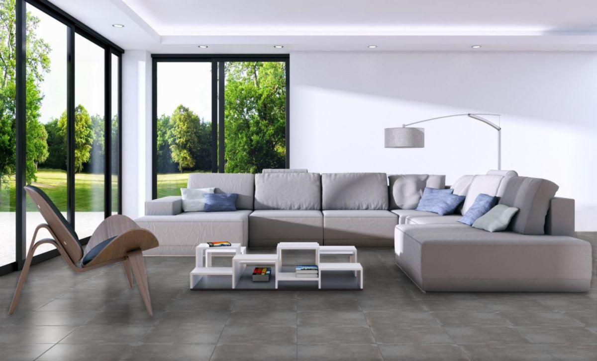Carrelage Sol Interieur Gres Cerame Emaille Islande Gris Mat 45x45 Cm Arte One