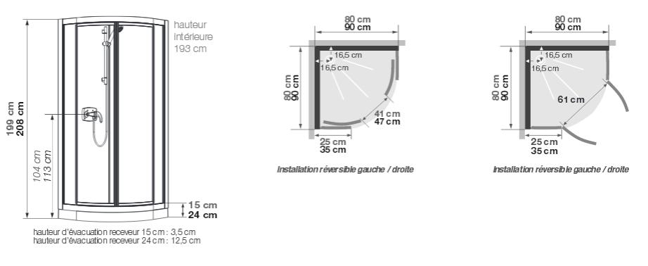 cabine de douche kineprime glass r80 80x80 portes coulissantes mitigeur mecanique receveur 15cm kinedo ref ca761mtn