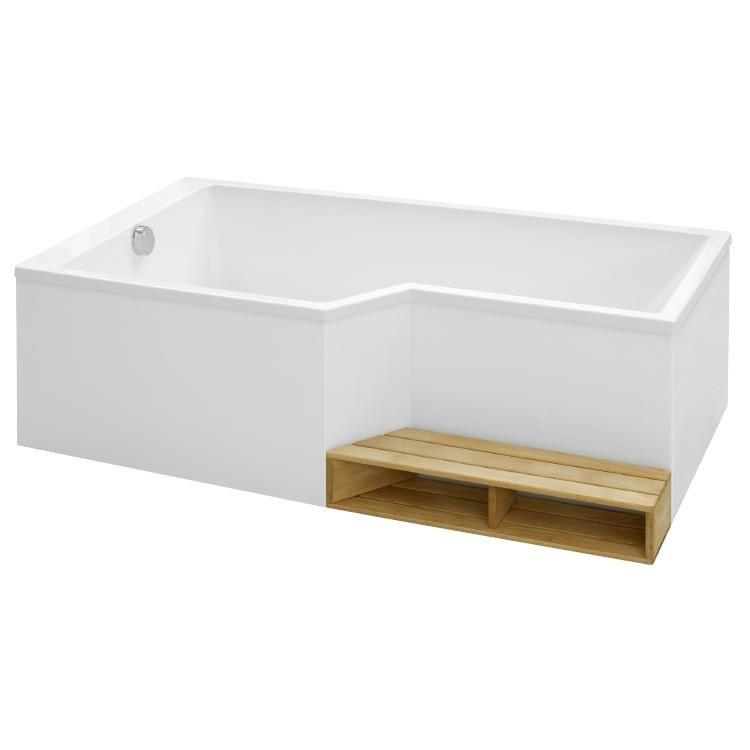 ensemble baignoire bain douche neo 160 x 90 70 acrylique version gauche blanc jacob delafon ref