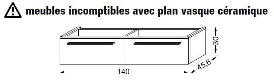 meuble sous table halo en melamine sans led pour double vasque 140 cm 2 tiroirs sanijura ref 115245