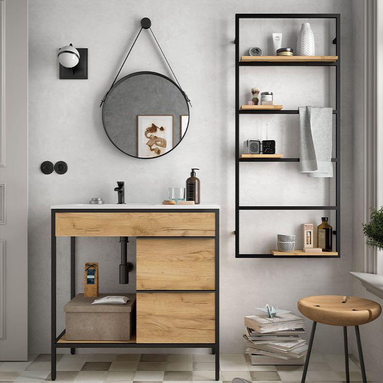 Miroir Barbier Rond 51 Cm Avec Sangle Noir Mat Salgar Ref 24789