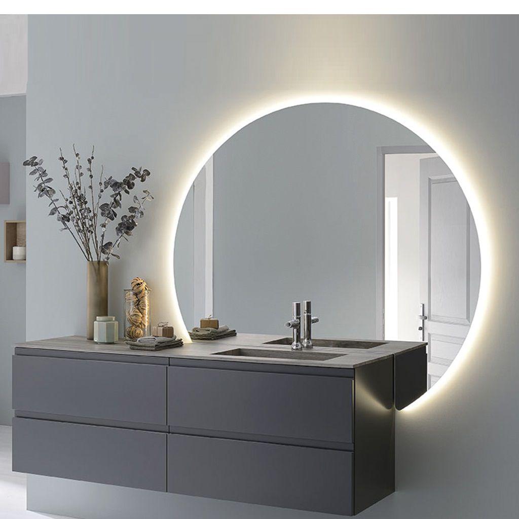 miroir reflet orbe droite 140cm retro eclaire 24w sanijura ref 905020