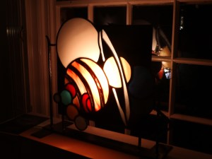 stained glass fire screen, solar system