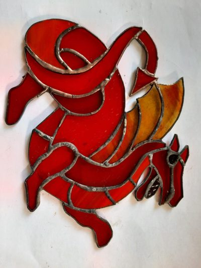 stained glass red dragon