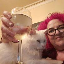me and Emmett enjoying a glass of wine