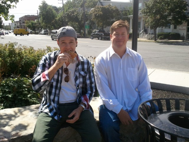 AL Ducharme and Jimmy Dunn share some lunch and some stories in Beachmont Square