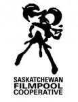 Saskatchewan Filmpool Cooperative logo vertical black on white