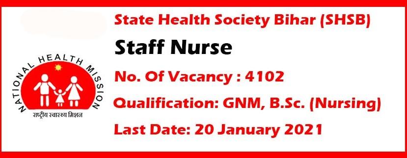 SHSB Bihar Staff Nurse Vacancy Online Form 2021 | Berojgar Indian.com