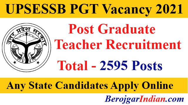 UPSESSB UP PGT Recruitment 2021 Online Form Vacancy Details