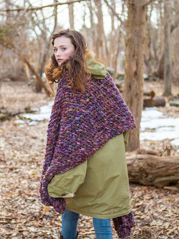 Wild Violets shawl knitting pattern in Berroco Gusto