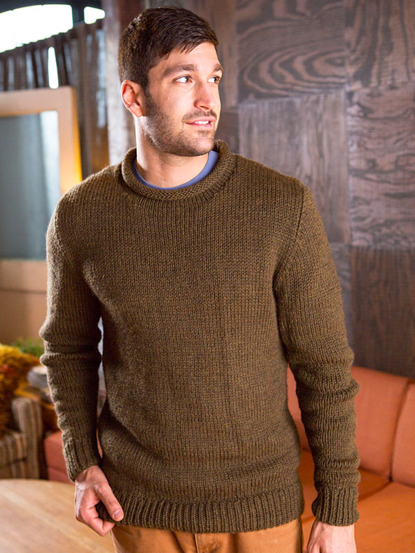 North men's sweater knitting pattern in Berroco Vintage Chunky