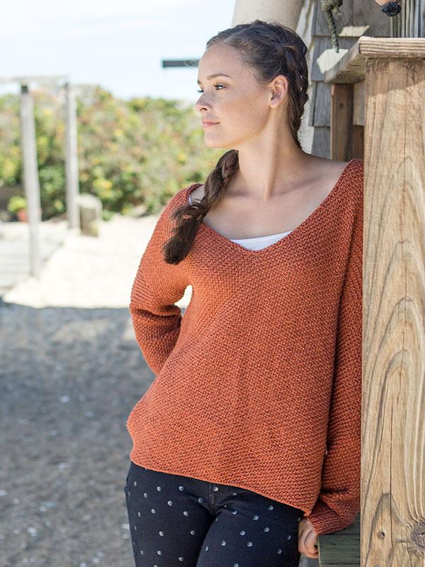 Espe sweater knitting pattern designed in Berroco Elba