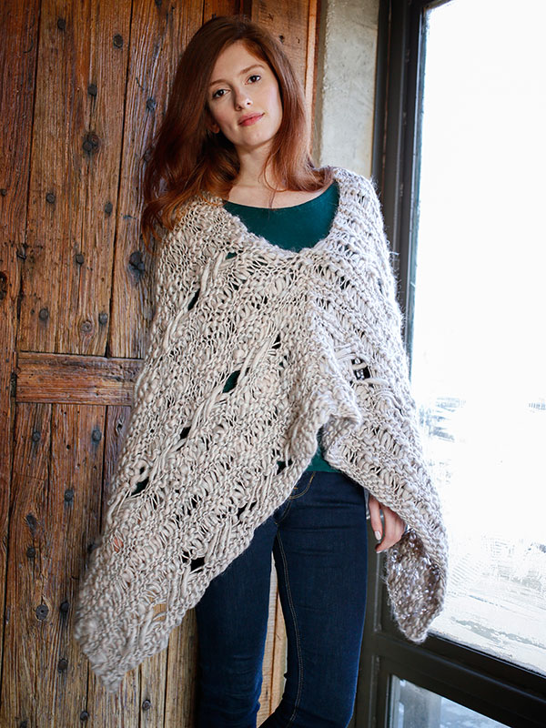 Comfrey free poncho knitting pattern in Berroco Gusto