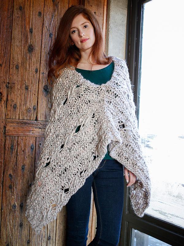 Comfrey free poncho knitting pattern in Berroco Gusto