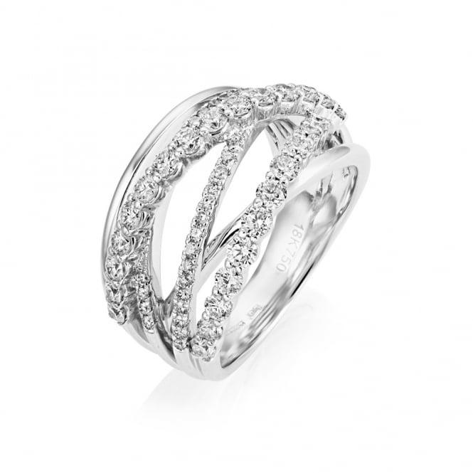 18ct White Gold Multi Strand Diamond Dress Ring From Berry
