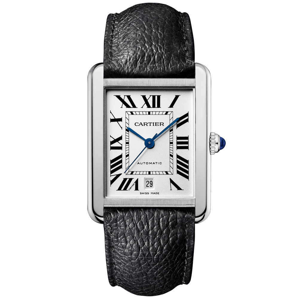 Cartier Tank Solo XL Steel   Black Leather Strap Automatic Watch Tank Solo XL Steel  amp  Black Leather Strap Automatic Watch