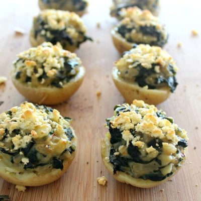 spinach & feta jacket stuffed potatoes