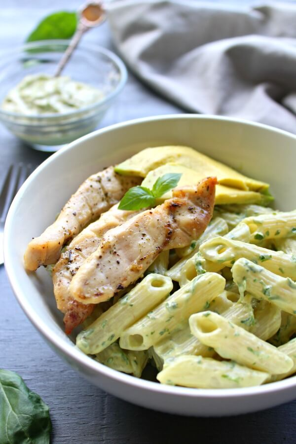 Chicken Pasta with Herby Yoghurt & Avocado Pesto Sauce. A delicious quick & easy weeknight meal - 30 minutes from prep to table. Healthy & satisfying | berrysweetlife.com