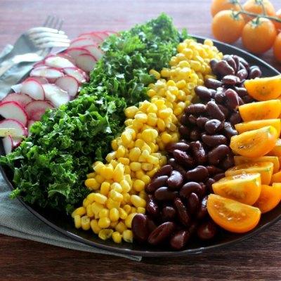 Mexican Chopped Corn, Vine Tomato & Kale Salad