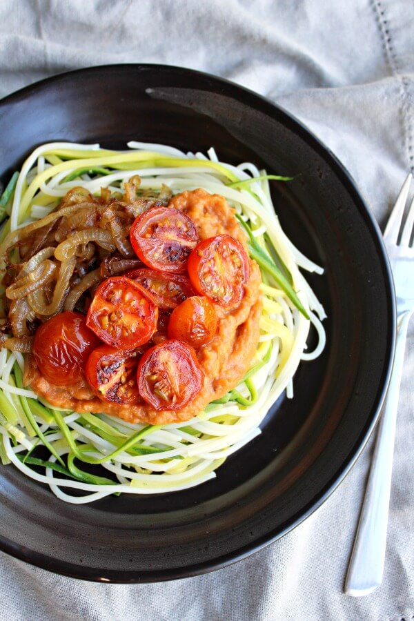 Baby Marrow Spaghetti & Rustic Plum Tomato Sauce. A delicious quick & easy vegetarian weeknight dinner the whole family will adore | berrysweetlife.com