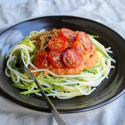 Baby Marrow Spaghetti & Rustic Plum Tomato Sauce