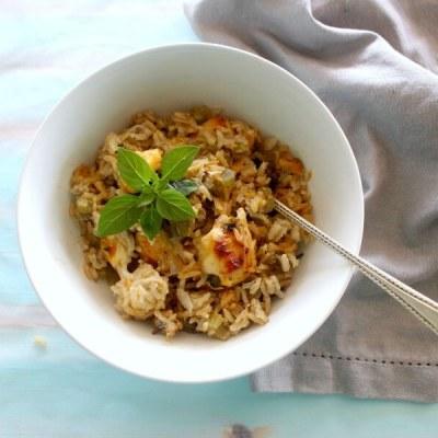 One Pan Creamy Basil Chicken & Rice Casserole