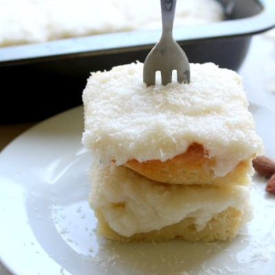 Coconut Almond Greek Yoghurt Sheet Cake